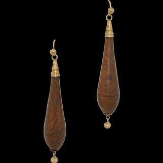 Victorian 14K Lengthy Torpedo Etruscan Revival Earrings