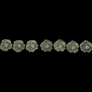 Art Nouveau Sterling Silver & Button Set