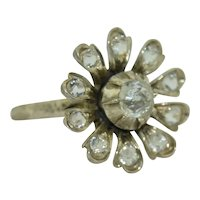 Victorian Sterling Silver Flower Paste Ring SZ 3