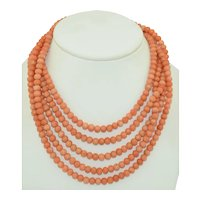 198 cm of Natural Salmon Coral Bead Necklace