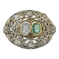 14K Victorian Emerald and Diamond Ring