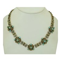Swedish Arts & Crafts 800 Silver & Turquoise Necklace