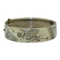 Antique Japanese Sterling Silver & Mixed Metal Damascene Bracelet