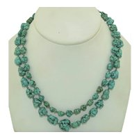 33 Inch Turquoise Matrix Hand Knotted Necklace