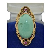 14K Rose Gold large Turquoise and Spinel Ring