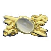 22K Catseye Moonstone Ring