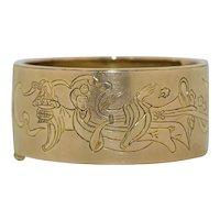 Antique Solid 14K Gold Geisha Etched Bracelet - 52.7 grams
