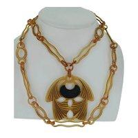Art Nouveau Hand Carved Horn Chain & Pendant