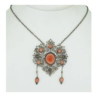 Victorian Sterling Silver Banded Carnelian & Coral Necklace