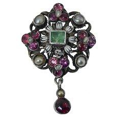 Antique Austro-Hungarian Sterling Emerald, Pearl, Enamel & Garnet Brooch