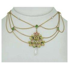 Glorious 14K Art Nouveau Festoon Necklace