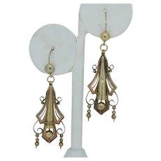 Edwardian Etruscan Revival 18K & 14K Earrings