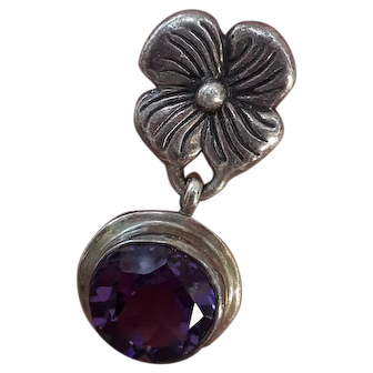Sterling Silver and Amethyst Pansy Earrings