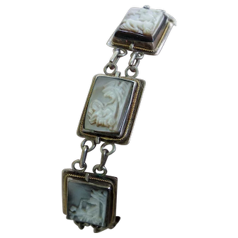 Greek Mother of Pearl and Silver Tone Link Bracelet