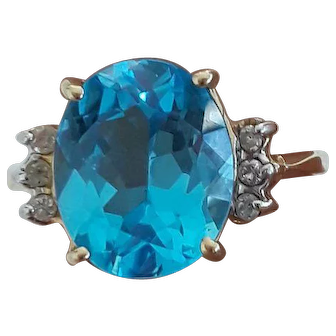 Bright Topaz and Diamond Ring
