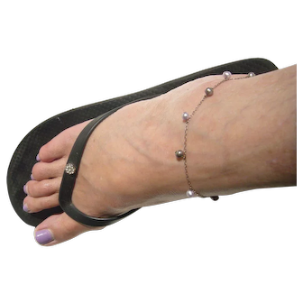 Gray Pearl and Silver Ankle Bracelet