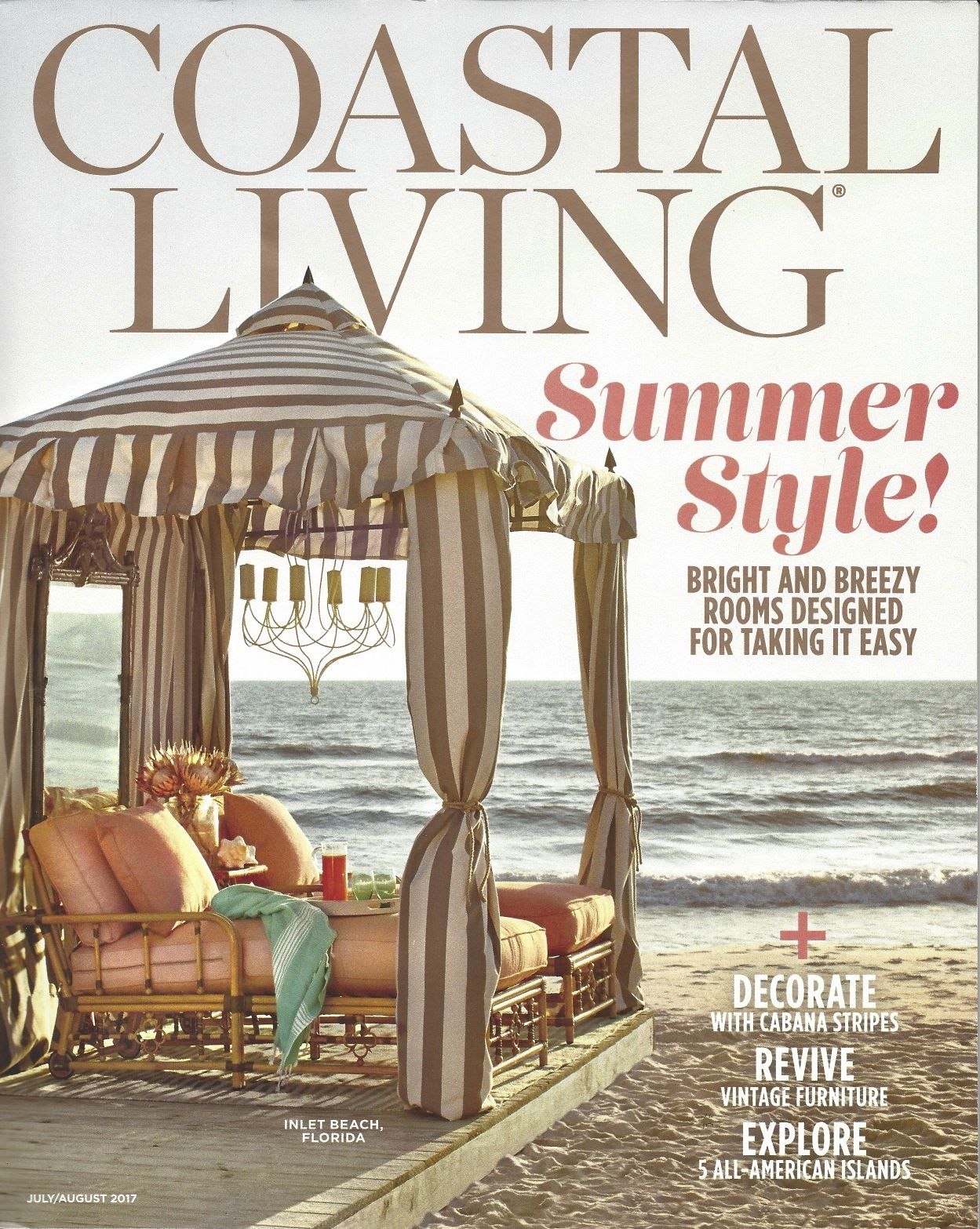 July/August 2017, Coastal Living Magazine, Havens, Vintage Pails image 1