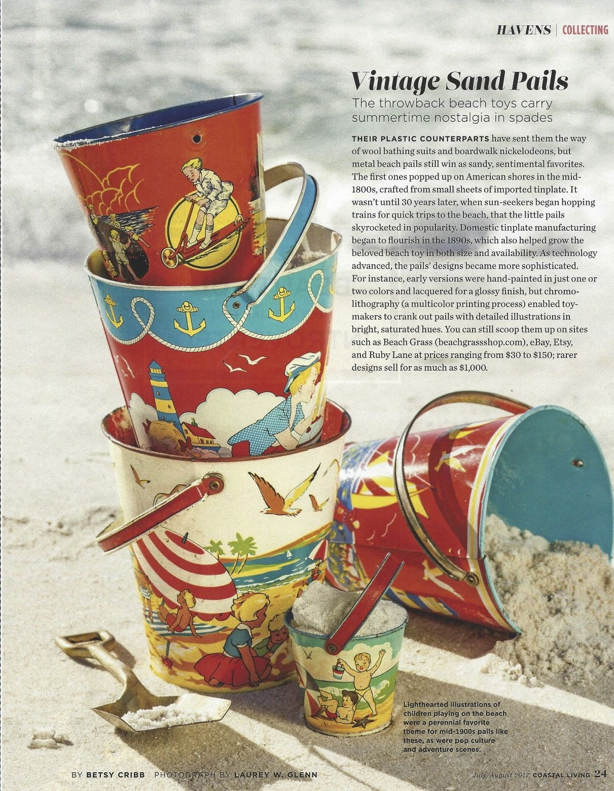 July/August 2017, Coastal Living Magazine, Havens, Vintage Pails image 2
