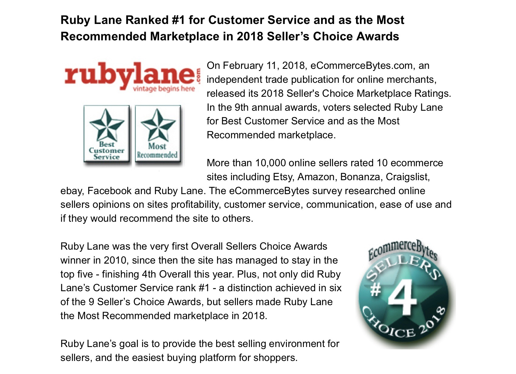 February 11, 2018,  Ruby Lane Takes Top Honors in 2018 Seller's Choice Awards image 1