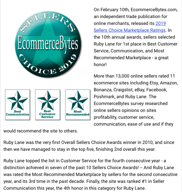 February 10, 2019, Ruby Lane Takes 3 Top Honors in 2019 Sellers Choice Awards image 1