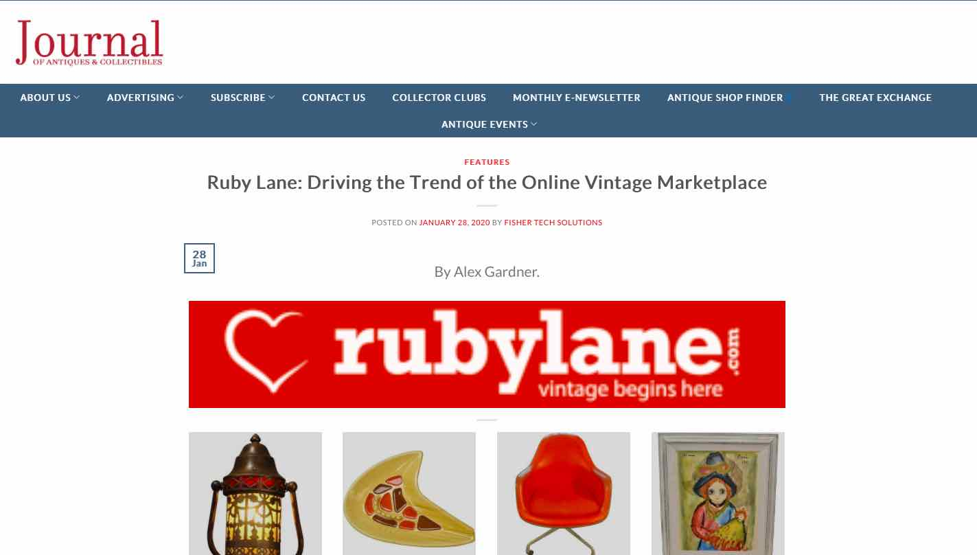 December 2019, The Journal of Antiques & Collectibles, Ruby Lane: Driving the Trend of the Online Vintage Marketplace image 1
