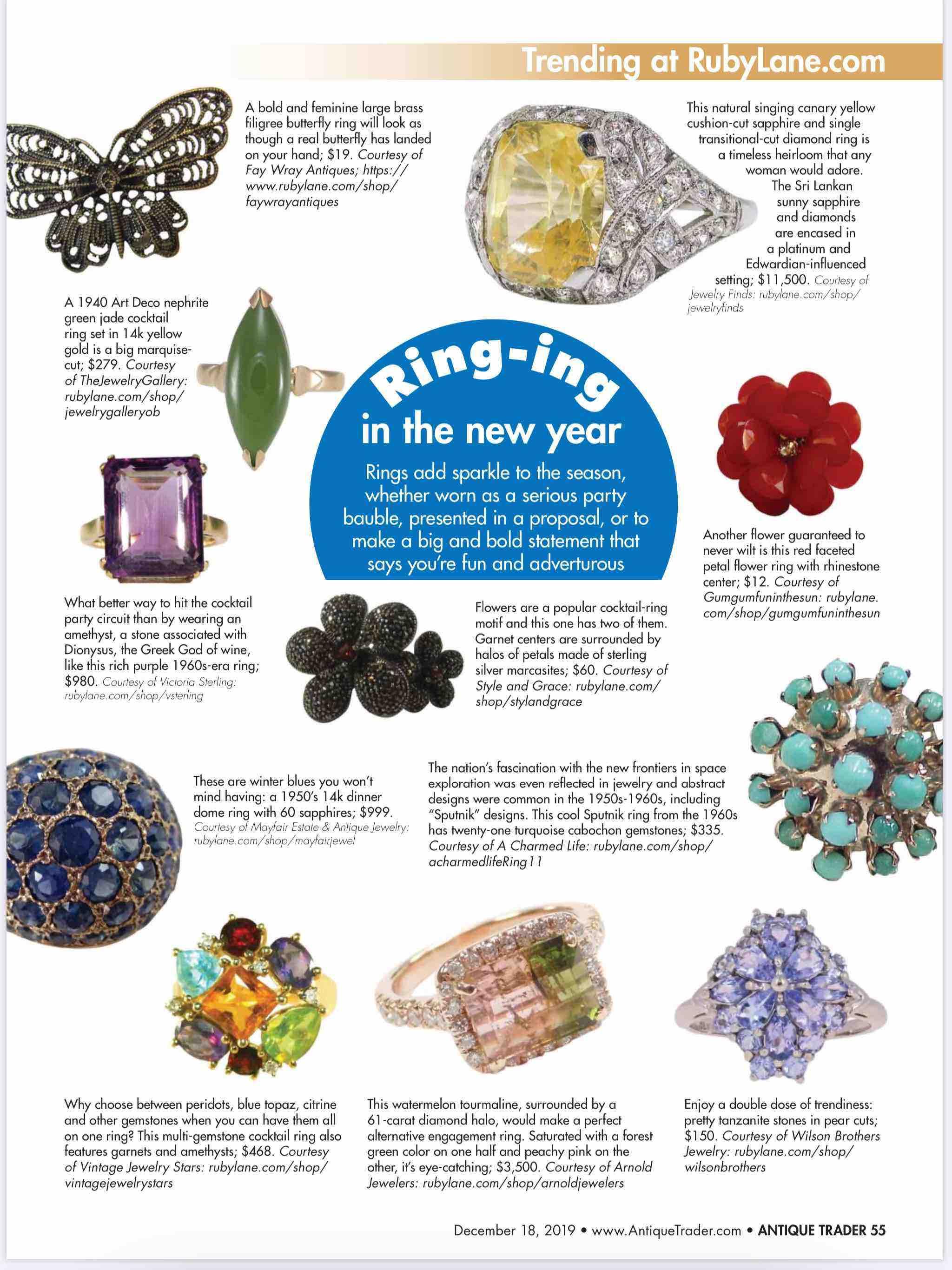 December 18, 2019, Antique Trader Magazine, Trending at RubyLane.com image 2