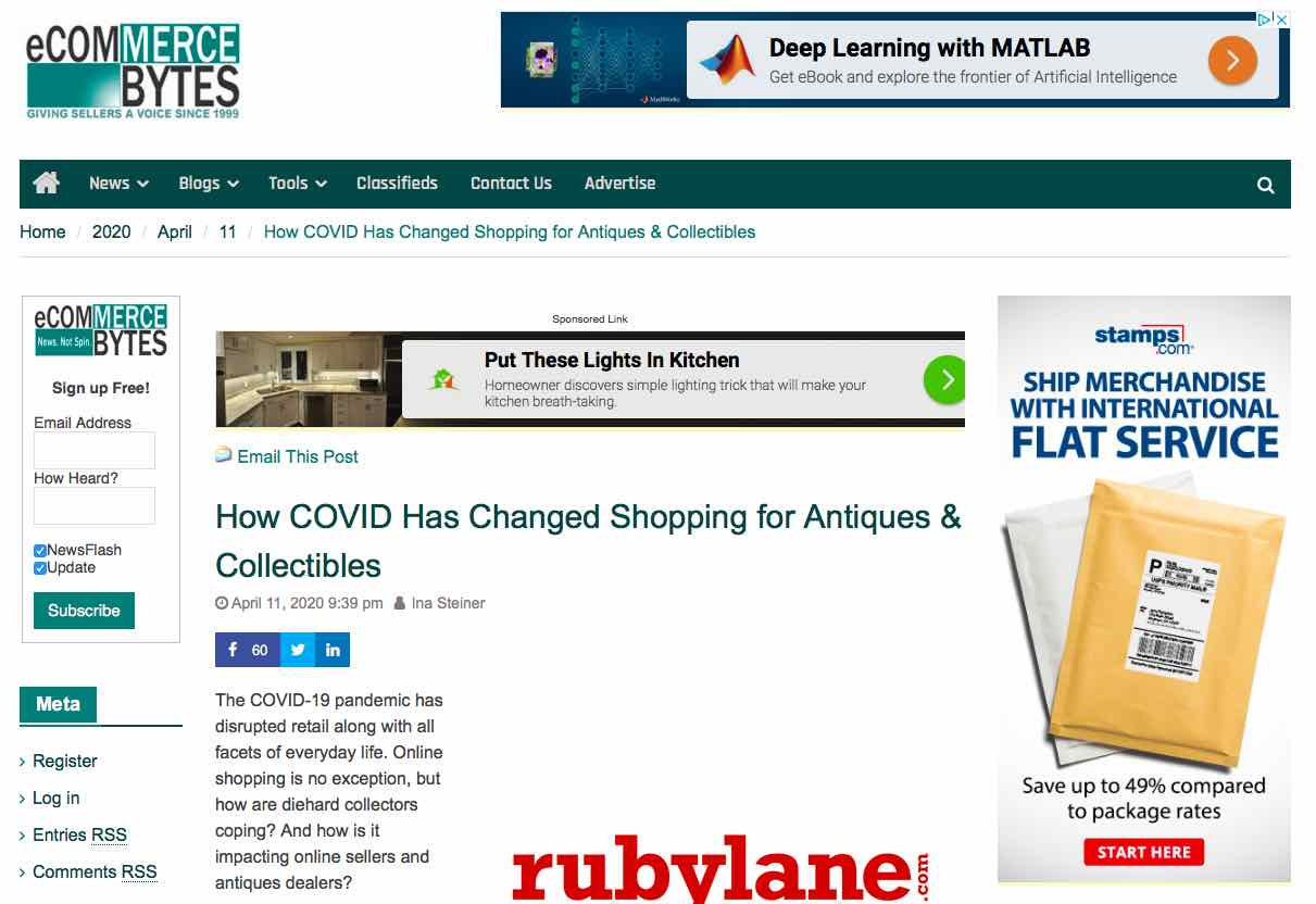 April 11, 2020, eCommerceBytes.com, How COVID Has Changed Shopping for Antiques & Collectibles image 1