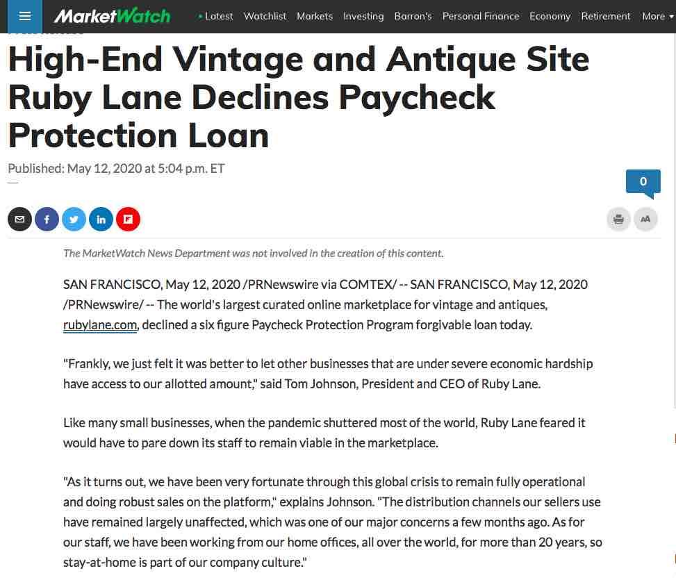 May 12, 2020, Market Watch, High-End Vintage and Antique Site Ruby Lane Declines Paycheck Protection Loan image 1