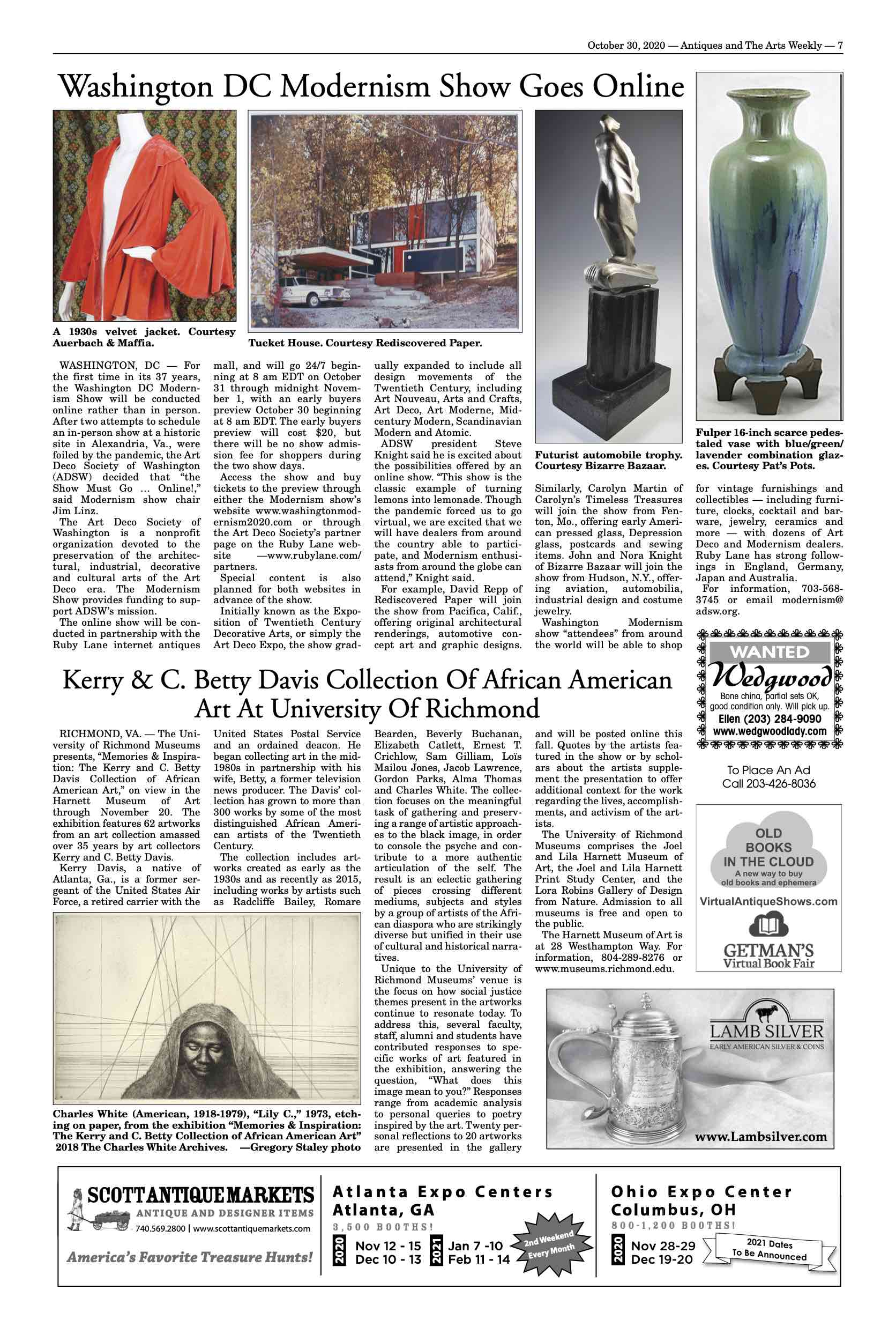 October 30, 2020, Antiques and The Arts Weekly, Washington DC Modernism Show Goes Online image 1