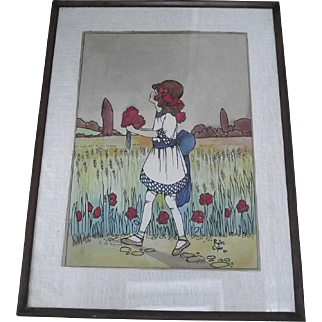 Rare Enid Blyton Book Illustration watercolor by Phyllis Chase from The Child Whispers