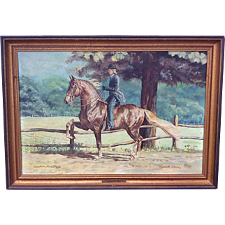 Original Oil Painting of Morgan Horse Quakers Acre Treble by Equestrian artist Elizabeth Sharp 1978