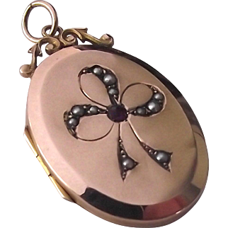 Art Nouveau 9ct gold amethyst and seed pearl fancy bail locket hallmarked 1909
