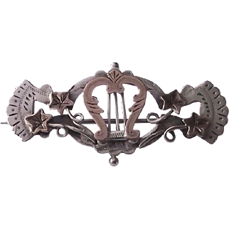 Anitique silver and gold lyre brooch pin 1896