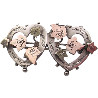 Antique English silver friendship brooch pin