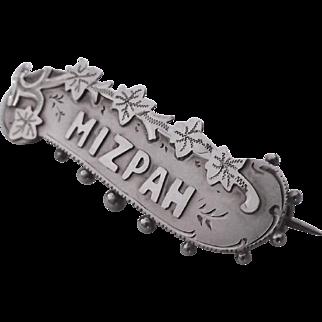 Antique English silver Mizpah brooch pin 1898