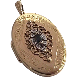 Vintage 9ct gold sapphire and diamond locket