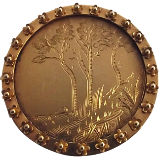 Antique 9ct gold Arts and Crafts country scene brooch