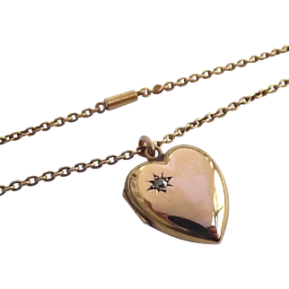 Antique 15ct gold love heart diamond locket and 18 inch 15ct gold chain