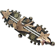 Antique silver and rose gold love bird swallow brooch pin