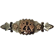 Antique silver and rose gold wedding brooch pin 1910
