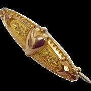 Art Nouveau puffy love heart brooch pin