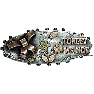 Antique silver and rose gold Forget Me Not brooch pin hallmarked 1902