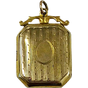 Edwardian 9ct gold back and front fancy locket pendant