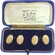 Pretty 15ct gold engraved cufflinks in original box Chester hallamrked 1898