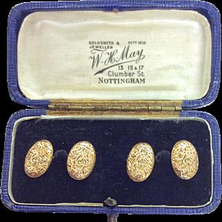 Pretty 15ct gold engraved cufflinks in original box Chester hallamrked 1898