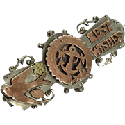Antique silver and rose gold Best Wishes brooch pin hallmarked 1905