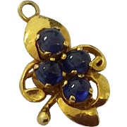 Antique 18k gold cabochon sapphire charm - Red Tag Sale Item