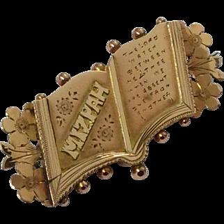 Antique 9ct rose gold open book Mizpah brooch pin circa 1914