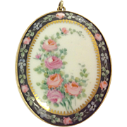 Antique rolled gold Limoges porcelain brooch pendant