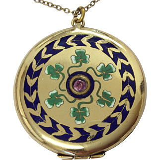 Antique rolled gold lucky shamrock enamel locket and chain